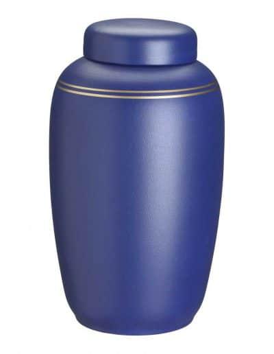 Blå ler urne med guldkant