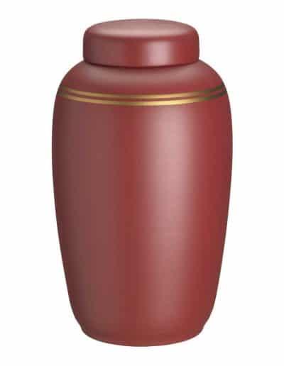 Rød ler urne med guldkant